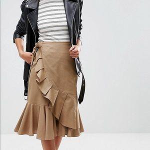 ASOS tan ruffle wrap skirt